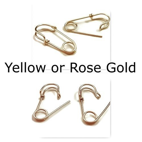 Safety Pin Earrings 14k Yellow or Rose Gold Filled Small 3/4 or 1 Inch Hoop Earrings Punk/Goth Harley Quinn Earrings 100% Hypoallergenic/Nickle Free