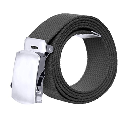 Canvas Military Style Belt with Silver Buckle – Black - Designer Style Belt Buckle