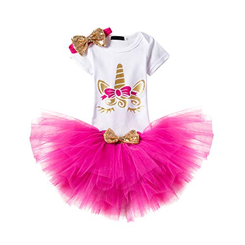 (Newborn Baby Girl 1st Birthday 3pcs Unicorn Outfits with Headband&Romper&Skirts Pageant Party Wedding Princess Clothes Set #1 Rose-Gold One Size)