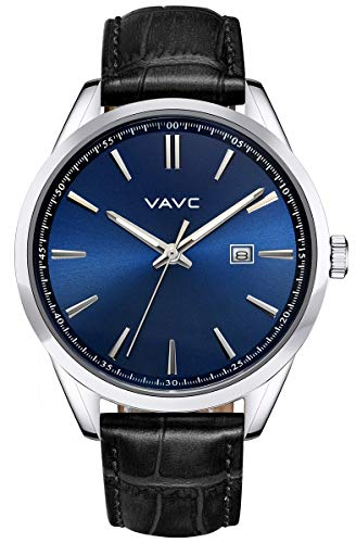 VAVC Men's Business Analog Quartz Wrist Watch with Black Leather Band Blue Dial and Date ()