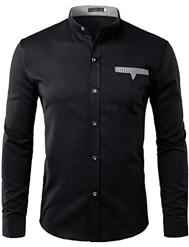 ZEROYAA Mens Hipster Banded Collar Slim Fit Long Sleeve Casual Button Down Shirts with Pocket Z74 Black Medium