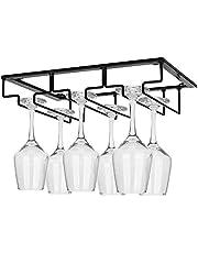 Wine Glass Rack - Under Cabinet Stemware Wine Glass Holder Glasses Storage Hanger Metal Organizer for Bar Kitchen Black