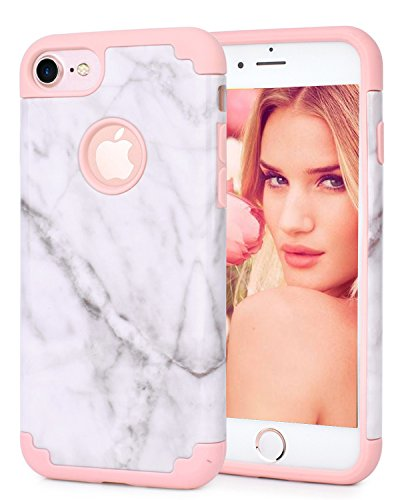 iPhone 7 Case, Hapitek™ Hybrid Protective Soft Silicone With Hard White Marble Case Shock Absorbing Slim Thin Cute Case Cover Plastic Shell For iPhone 7 (Style (Protective Soft Plastic Case)