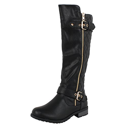 Forever Mango-21 Women's Winkle Back Shaft Side Zip Knee High Flat Riding Boots Black 7.5