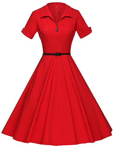GownTown Women's 1950s Style Red Stretch Sleeved Swing Dress