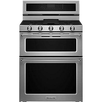Amazon Com Kitchenaid Kfgd500ess Double Oven Gas Freestanding Range