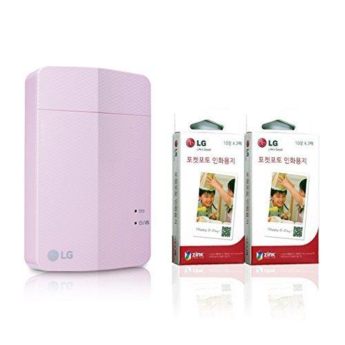 [Printer+Paper SET] New LG Pocket Photo Printer 3 PD251 [Pink] (Follow-up model of PD241T PD239) + LG Zink Photo Paper [60 Sheets]
