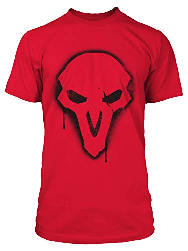 (JINX Overwatch Men's Reaper Spray Tee Shirt, Fuji Red, X-Large)