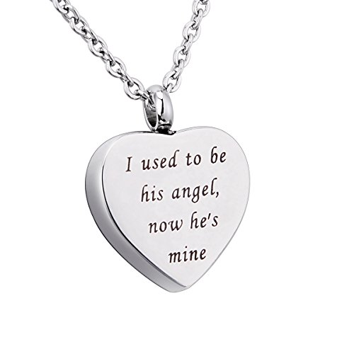 KY Engraved I used to be his angel, now he's mine Memorial Urn Pendant Necklace Keychain Heart Ashes Keepsake Cremation Jewelry (Necklace-2) ()