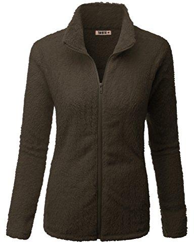Doublju Womens Simple Design Full-Zip 3/4 Sleeve Jacket (3/4 Sleeve Leather Jacket)