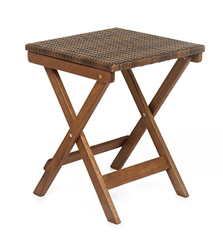 Plow & Hearth Claytor Folding Eucalyptus Outdoor Side Table