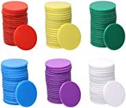Shapenty 25mm/1 Inch Small Plastic Learning Counters Disks Bingo Chip Counting Discs Markers for MathPractice