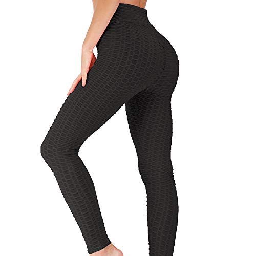 Jenbou Butt Lifting Anti Cellulite Sexy Leggings for Women High Waisted Yoga Pants Workout Tummy Control Sport Tights Black