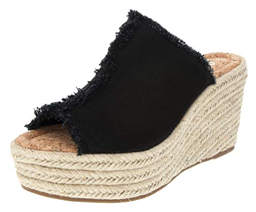 Sugar Women's Hosta Espadrille Slingback Wedge Sandal with Buckle 10 Black