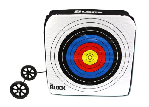 Block Bullseye NASP Archery Target with Removable Wheels (Best Archery Block Target)