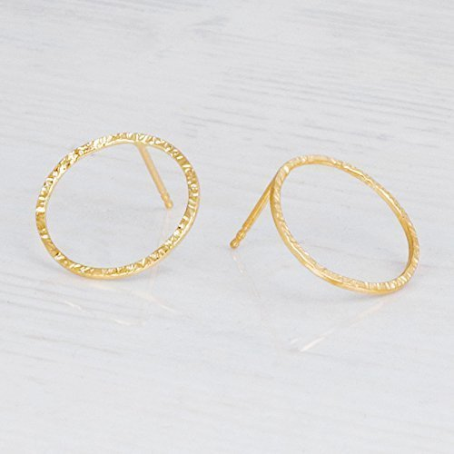Delicate Hammered Gold Circle Earrings - Designer Handmade Minimal Small Open Circle Stud Posts