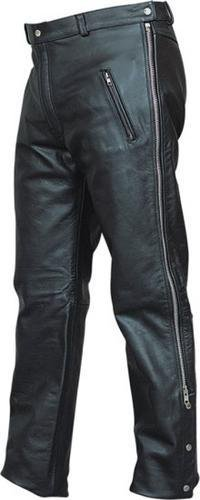 Motorcycle Pants Leather Chaps (Mens Black Lined Leather Motorcycle Chap-Style Pants with Silver Hardware and side zippers)