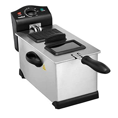 VonShef 3 Litre Non-Stick Stainless Steel Deep Fryer with Viewing Window