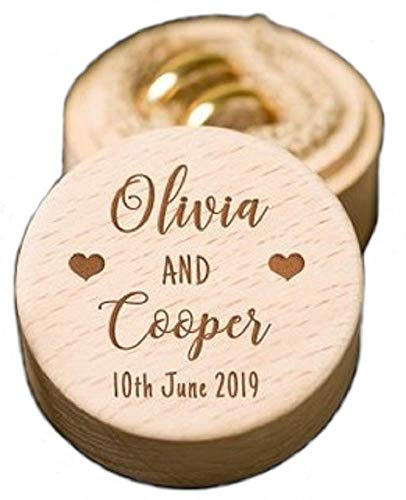 Personalized Round Rustic Wooden Ring Box. Custom Name & Date Engraved Ring Bearer Holder Storage Case Box. (Pattern 8) (Engraved Ring Box)