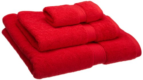 Superior 900 GSM Luxury Bathroom 3-Piece Towel Set, Made Long-Staple Combed Cotton, Hotel & Spa Quality Washcloth, Hand Towel, and Bath Towel - Red ()