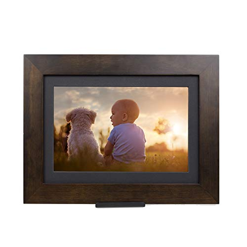 "PhotoShare Friends and Family Smart Frame Digital Photo Frame, Send Pics from Phone to Frame, WiFi, 8 GB, Holds Over 5,000 Photos, HD, 1080P, iOS, Android (8"", Espresso)"