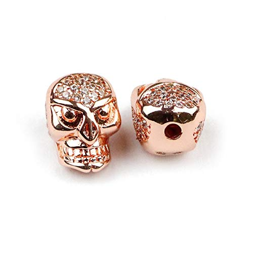 - Calvas 2pcs Skull Pendant Copper Spacer Beads Micro Pave White CZ Charms Loose Beads for Jewelry Bracelet Making DIY Accessories - (Color: Rose Gold Color, Item Diameter: 2pcs)