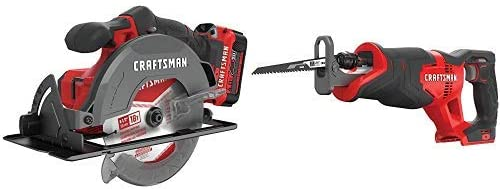 CRAFTSMAN V20 6-1 2-Inch Circular Saw Kit with Reciprocating Saw CMCS500M1 CMCS300B