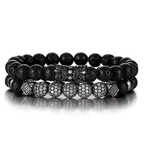 SHIWE 8MM Lava Rock Beads Bracelet for Men Women Essential Oil Beaded Healing Anxiety Bracelets