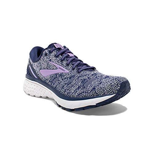Brooks Womens Ghost 11 Running Shoe - Navy/Grey/Purple Rose - B - 5.0