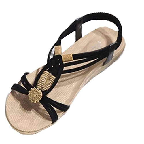 Sandalias para Mujer, RETUROM Moda de verano Bohemia dulce con cuentas sandalias para zapatos de playa Negro