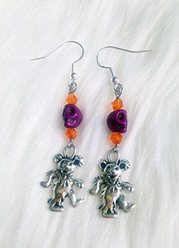 Dead Bear Earrings -Handmade in USA, Purple Skull Jewelry, Hippie Jewelry for (Jerry Sterling Silver Earrings)