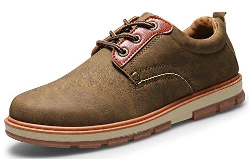 herren Wildleder Schnürhalbschuhe Schuhe von Santimon Oxfords Klassiker Khaki Leder gvnna