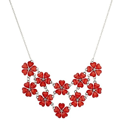 [Lux Accessories Silvertone n Red Acrylic Flower Floral Mini Statement Necklace] (Flower Child Costumes Ideas)