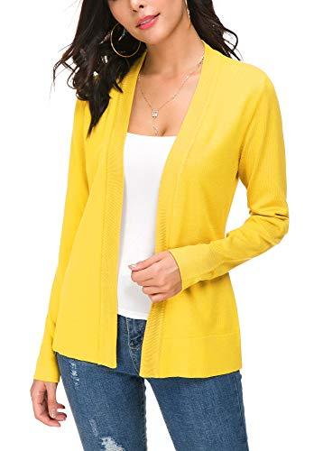 Women's Knit Cardigan Open Front Sweater Coat Long Sleeve (M, Lemon Yellow)
