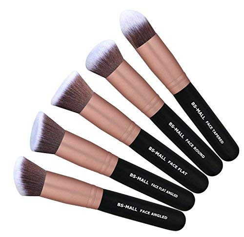 BS-MALL Makeup Brushes Premium Synthetic Foundation Powder Concealers Eye Shadows Makeup Brush Sets, Rose Golden, 14 Pcs