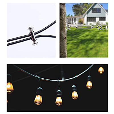 MUZATA String Light Hanging Kit, Stainless Steel Hardware for The Globe Suspension Kits, Cafe Lighting, Guide Wire Rope Tension with Turnbuckles and Hooks, 85ft Black Vinyl Coated Cable