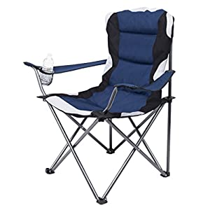 Internet's Best Padded Camping Folding Chair | Outdoor | Navy Blue | Sports | Cup Holder | Comfortable | Carry Bag | Beach | Quad