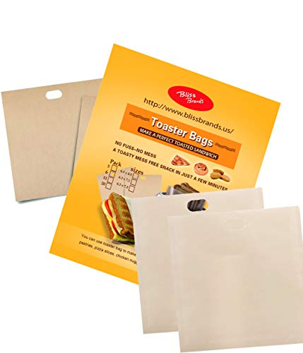 (Reusable Toaster Bags: Non-Stick Sandwich Pouch 20 Pack - FDA Approved, BPA & Gluten Free Sleeve - Great for Grilled Cheese, Chicken Nuggets, Pizza Slices, Sausages, Panini, Pastries, Sandwiches)