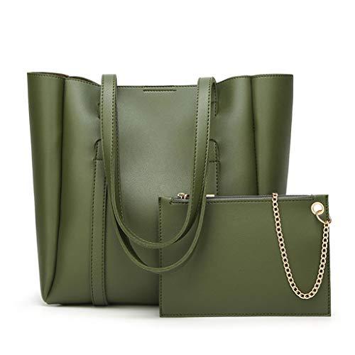Femme couleur à Lxf20 carré sac main à sac PU Green sac grand bandoulière solide sac dwFx01F