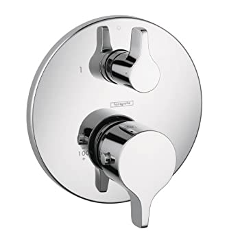 Image of Hansgrohe 4353000 S/E Thermostatic Valve Trim with Integrated Diverter and Volume Controls, 6.75 x 6.75 x 3.00 inches, Chrome Home Improvements