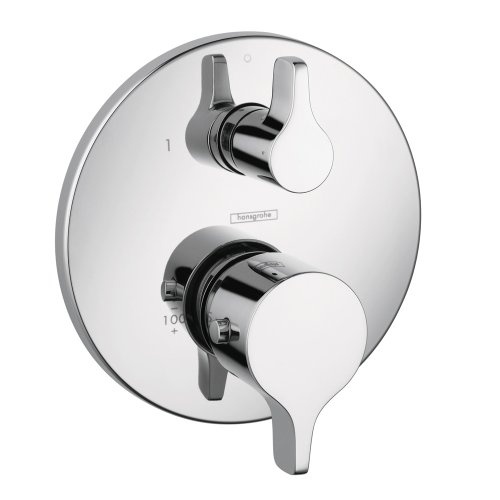 Hansgrohe 04353000 S and E Thermostatic Trim with Volume Control and Diverter, Chrome - Hansgrohe Trim Volume Control