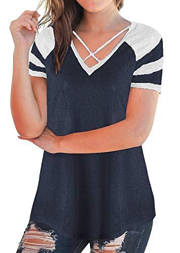 Shirt Crossover Femme Couleurs Mlanges Branch Chemise Fit Courtes Et Dunkelblau Shirts T T Blouse Jeune Style Manches V Slim Blouse Cou lgant Spcial Mode Mode dUxBqxHW5n