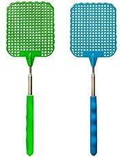 Handmatige Ongediertebestrijding Handmatige Vliegenmepper Grote Vliegenmepper 2 Roestvrijstalen Vliegenmeppers, Intrekbare Insectenmepper Mini Vliegenmeppers Voor Binnen En Buiten Voor Muggen Vliegen
