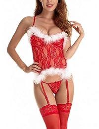 Santou Women Sexy Christmas Lingerie Set Santa Floral Lace Sleepwear