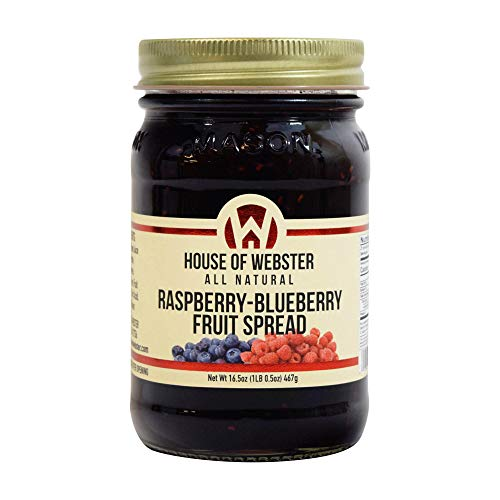 House of Webster Raspberry Blueberry Fruit Spread - No Added Refined Sugar - - Fruit Sugar Added Spreads
