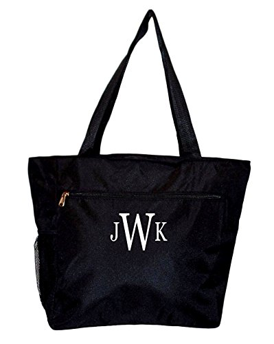 (Large Multi - Pocket Fashion Zipper Top Beach Bag Tote - Custom Embroidery Available (Solid Black)