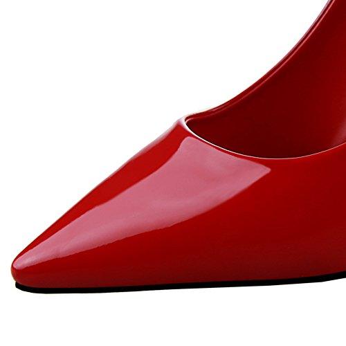 Pointed Mujeres Toe de Rojo De Zapatos Tacones Stiletto BIGTREE altos Vestir Zapatos Charol tacón qFA5Rw