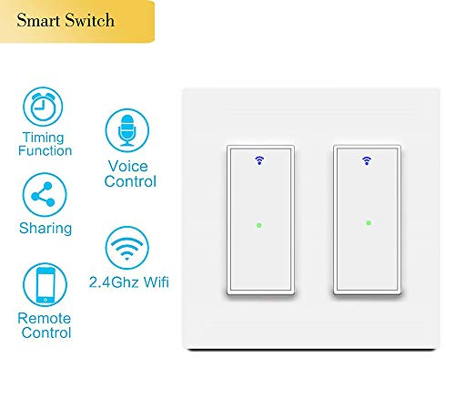 Youngzuth Smart Light Switch, 2.4Ghz Wi-Fi Dual Smart Switch Work with Amazon Alexa and Google Home,Voice/Remote Control, Timer Setting,Single-Pole,No Hub Required, Applicable to Family/Office(2 Gang)
