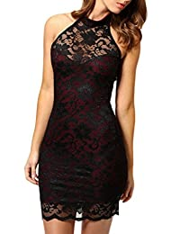 Women's Elegant Sleeveless Halter Lace Bodycon Tight Midi Cocktail Dress