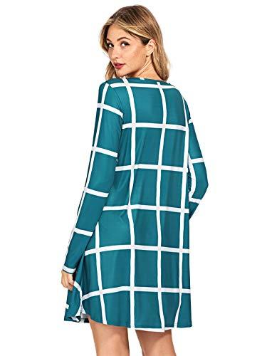 Dress Green Grid SheIn Print Women's Swing Sleeve Check Long 0qqO85